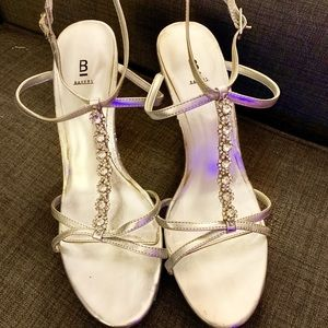 Silver strappy heels with jeweled center strap